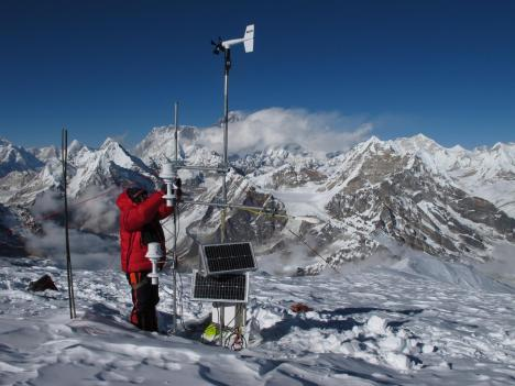 Researchers taking measurements in the Mera Glacier region of the Dudh Kosi basin. Photo courtesy Patrick Wagnon.