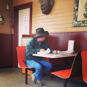 Plenty of time to read the paper in Sterling, as ranchers wait out the spring floods.