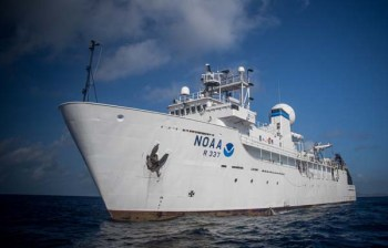NOAA Ship Okeanos Explorer systematically explores the deep oceans of the world. (Credit: NOAA)