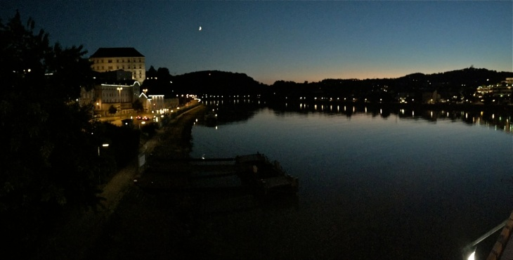 Moon over the Danube in Linz, Austria.