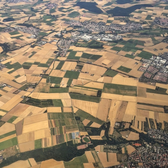 Fields and towns near Frankfurt, Germany.