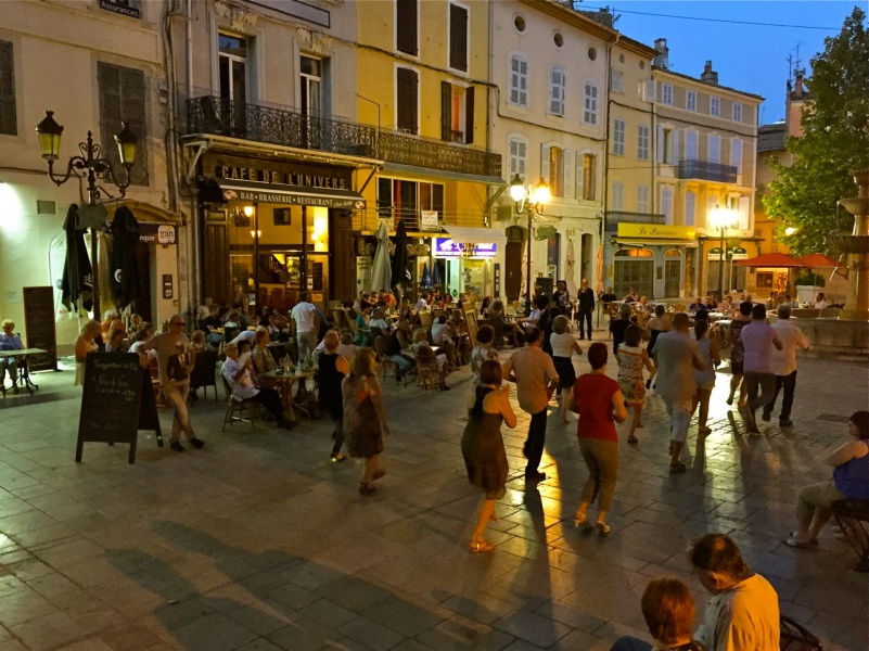 Evening dance at the Cafe de L'Univers in Brignoles, France.