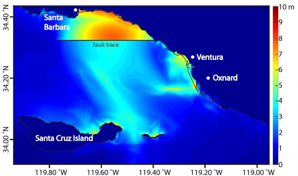 This is a map of regional peak tsunami amplitude in meters resulting from an earthquake on the Pitas Point and Lower Red Mountain fault system. The thin solid black line indicates the coastline and the thick black line indicates the Pitas Point fault trace. The fault trace is where the fault surface intersects the seafloor; it is seen as a straight line in the east-west direction. Note that significant regional tsunami inundation occurs. Credit Kenny Ryan, UC Riverside.