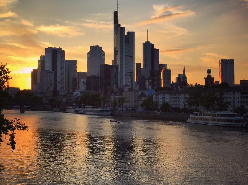 Frankfurt city skyline.