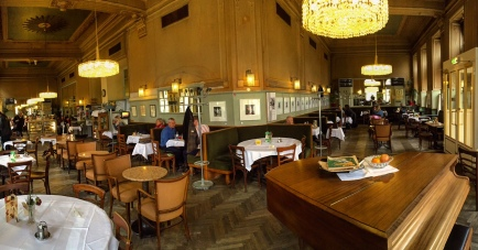 Café Westend near the Vienna West trainstation is one of the classic cafes, with parquet floors, a grand piano and servers who take their job very seriously.