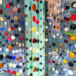 A button curtain in Cotignac, France.