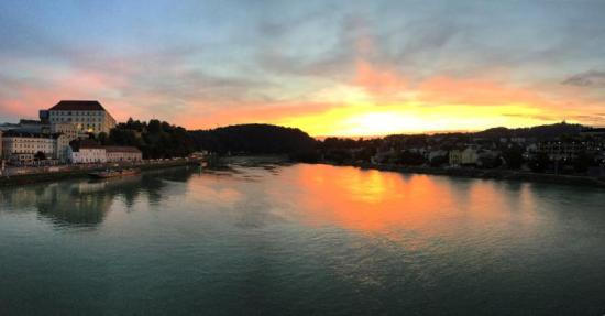 Looking west along the Danube in Linz, Austria.