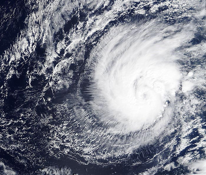 MODIS visible satellite image of Hurricane Pali taken at 5:30 pm EST January 11, 2016. At the time, Pali was intensifying into a Category 1 storm with 85 mph winds. Image credit: NASA.