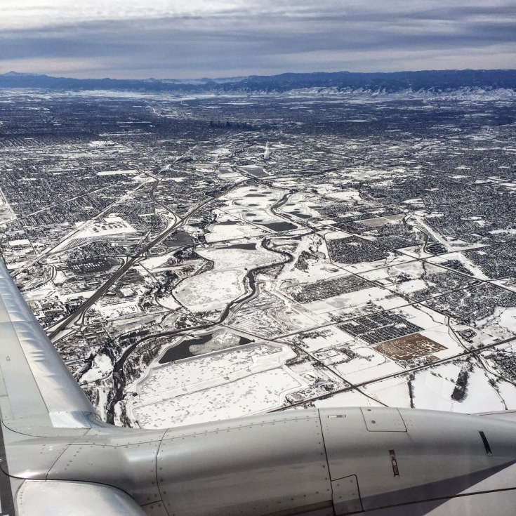 Looking southwest over Denver - check out the corn maze in the lower right.