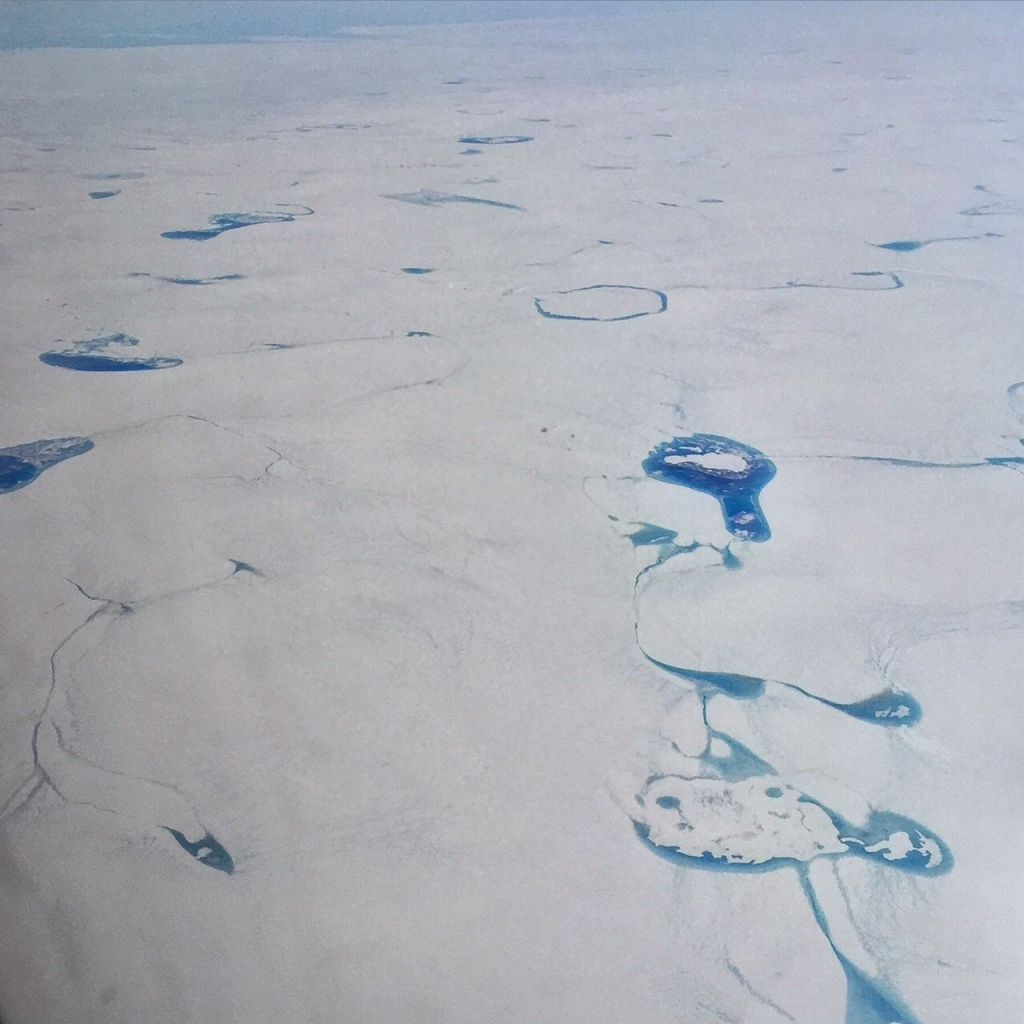 Melting on the surface of the Greenland Ice Sheet.