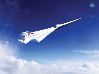 an artist's concept of a possible Low Boom Flight Demonstration Quiet Supersonic Transport (QueSST) X-plane design. The award of a preliminary design contract is the first step towards the possible return of supersonic passenger travel – but this time quieter and more affordable. Credits: Lockheed Martin