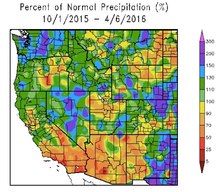western precipitation map 2016