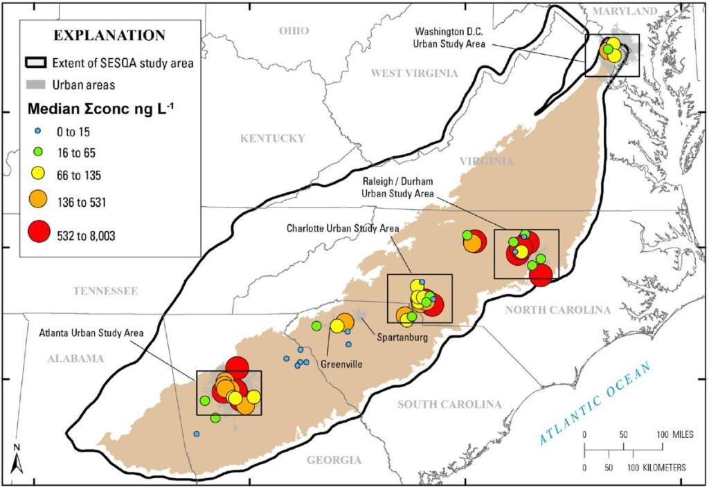 Cumulative median concentrations of pharmaceutical chemicals detected during the sampling conducted in June of 2014 in 59 small streams. The four urban study areas are shown in boxes, with details in the study.