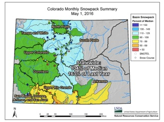 Colorado snowpack map