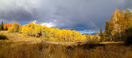 Aspen pano with partial rainbow, Frisco, Colorado.