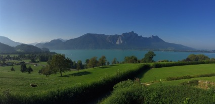 Mondsee, one of the Salzkammergut lakes, from the highway.