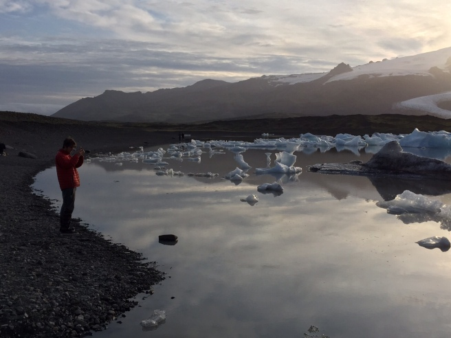 Dylan snaps a shot of the glacial lagoon.