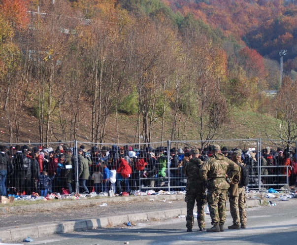 Refugees seek entry into the West at the border of Austria and Slovenia in November 2015.