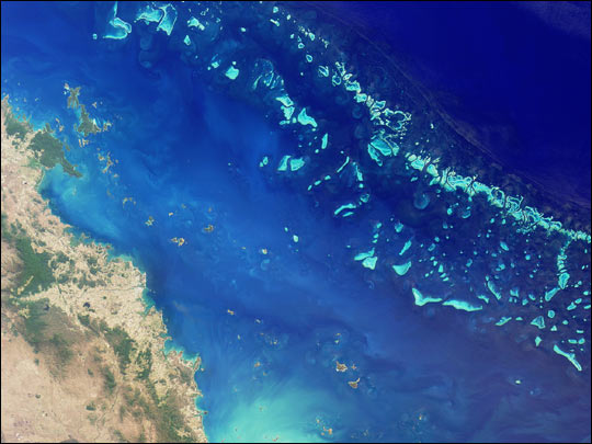 This NASA photo shows southern portion of the reef adjacent to the central Queensland coast