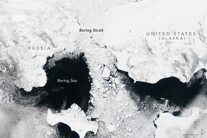 Sea ice flows out of the Arctic Ocean through the Bering Strait