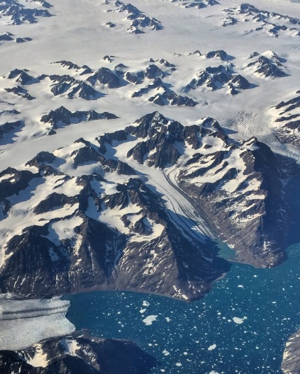 Glaciers melting along the coast of Greenland.