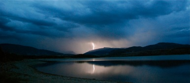A lightning blast strikes the ground near Keystone Resort, in Colorado.